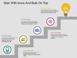 Fx Stair With Icons And Bulb On Top Flat Powerpoint Design
