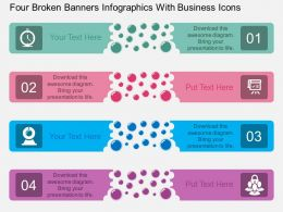 fy Four Broken Banners Infographics With Business Icons Flat Powerpoint Design