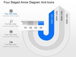 fy Four Staged Arrow Diagram And Icons Powerpoint Template