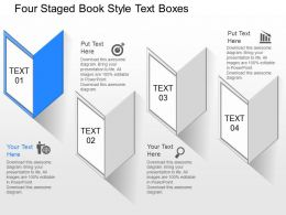 fy Four Staged Book Style Text Boxes Powerpoint Template