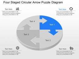 fy Four Staged Circular Arrow Puzzle Diagram Powerpoint Template