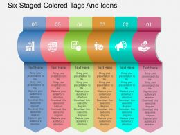 Fy Six Staged Colored Tags And Icons Powerpoint Template
