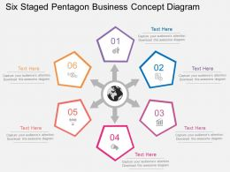 fy Six Staged Pentagon Business Concept Diagram Flat Powerpoint Design