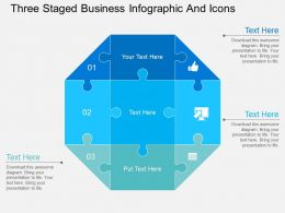 Fy Three Staged Business Infographic And Icons Flat Powerpoint Design