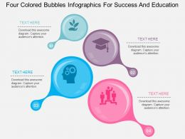 fz Four Colored Bubbles Infographics For Success And Education Flat Powerpoint Design
