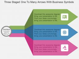 Fz Three Staged One To Many Arrows With Business Symbols Flat Powerpoint Design