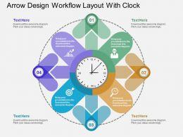 Ga Arrow Design Workflow Layout With Clock Flat Powerpoint Design