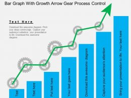 Ga Bar Graph With Growth Arrow Gear Process Control Flat Powerpoint Design