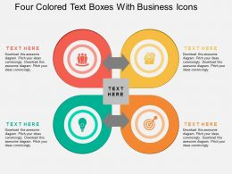 ga Four Colored Text Boxes With Business Icons Flat Powerpoint Design