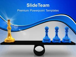 Game Of Strategy Templates Chessmen On Scales Business Image Ppt Presentation Designs Powerpoint