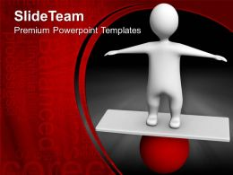 Game Of Strategy Templates Man Balancing On Ball Sports Company Ppt Presentation Powerpoint