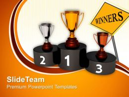 Game Of Strategy Templates Podium Golden Trophy Challenge Success Process Ppt Powerpoint