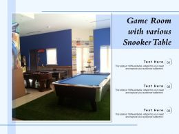 Game Room With Various Snooker Table