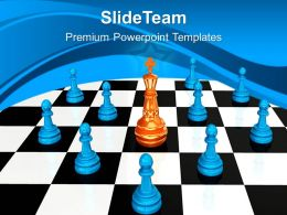 Game Strategy Powerpoint Templates Chess King Leadership Ppt Layouts