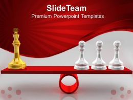 Game Strategy Powerpoint Templates Chessmen On Scales Competition Success Ppt