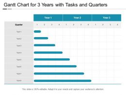 Gantt Chart For 3 Years With Tasks And Quarters