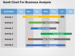 Gantt Chart For Business Analysis Flat Powerpoint Design