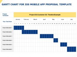 Gantt Chart For IOS Mobile App Proposal Template Ppt Powerpoint Presentation Visual Aids Slides