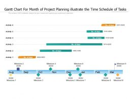 Gantt Chart For Month Of Project Planning Illustrate The Time Schedule Of Tasks
