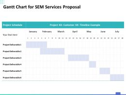 Gantt Chart For SEM Services Proposal Ppt Powerpoint Presentation Gallery Slide