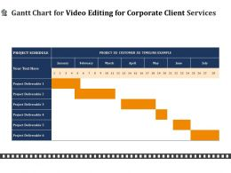 Gantt Chart For Video Editing For Corporate Client Services Ppt File Formats