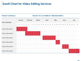 Gantt Chart For Video Editing Services Ppt Powerpoint Presentation Deck