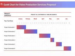 Gantt Chart For Video Production Services Proposal Ppt Demonstration