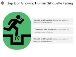 Gap Icon Showing Human Silhouette Falling