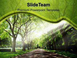 Garden Nature Powerpoint Templates Pathway Growth Ppt Slide