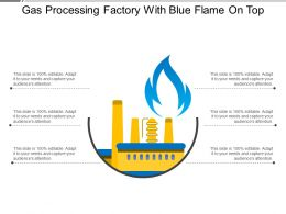 Gas Processing Factory With Blue Flame On Top