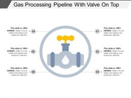 Gas Processing Pipeline With Valve On Top