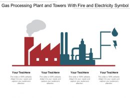 Gas Processing Plant And Towers With Fire And Electricity Symbol