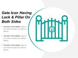 Gate Icon Having Lock And Pillar On Both Sides