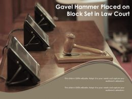 Gavel Hammer Placed On Block Set In Law Court
