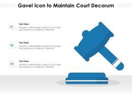 Gavel Icon To Maintain Court Decorum