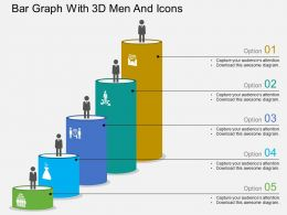 Gb Bar Graph With 3d Men And Icons Flat Powerpoint Design