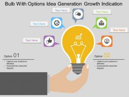 Gb Bulb With Options Idea Generation Growth Indication Flat Powerpoint Design