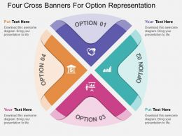 gb Four Cross Banners For Option Representation Flat Powerpoint Design