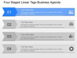 gb Four Staged Linear Tags Business Agenda Powerpoint Template