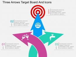 gb Three Arrows Target Board And Icons Flat Powerpoint Design