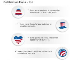 Gb US Flag Design Bell Hat Heart Ribbon Ppt Icons Graphics