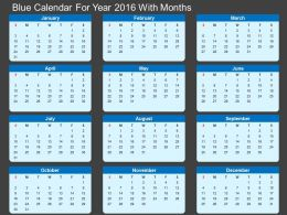 Gc Blue Calendar For Year 2016 With Months Flat Powerpoint Design