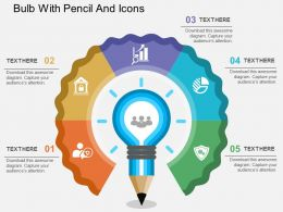 Gc Bulb With Pencil And Icons Flat Powerpoint Design