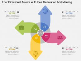gc Four Directional Arrows With Idea Generation And Meeting Flat Powerpoint Design