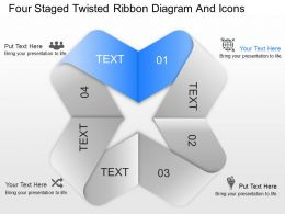 gc Four Staged Twisted Ribbon Diagram And Icons Powerpoint Template