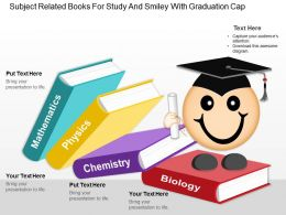 Gc Subject Related Books For Study And Smiley With Graduation Cap Powerpoint Template