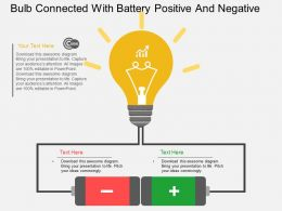 Gd Bulb Connected With Battery Positive And Negative Flat Powerpoint Design