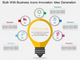 Gd Bulb With Business Icons Innovation Idea Generation Flat Powerpoint Design