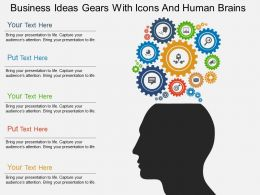 Gd Business Ideas Gears With Icons And Human Brains Flat Powerpoint Design