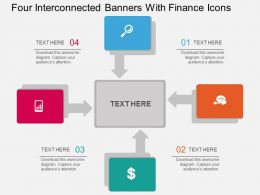 gd Four Interconnected Banners With Finance Icons Flat Powerpoint Design